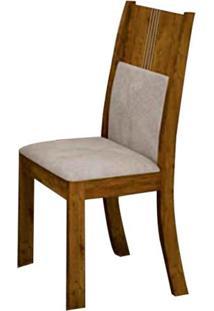 Cadeira Invicta 2 Peças - Canela Com Tecido Veludo Palhada