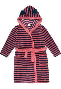 Roupão Menina Em Fleece Listrado