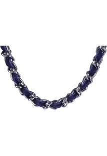 Colar Armazem Rr Bijoux Correntes Com Tecido Azul Marinho - Kanui