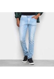 Calça Jeans Slim Ecxo Puídos Masculina - Masculino-Azul Claro