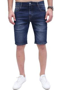 Bermuda Rock&Soda Jeans Masculina Lisa Zíper Bolso Casual Azul 36