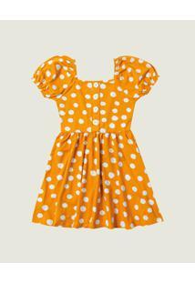 Vestido Póas Cotton Menina Malwee Kids Amarelo Escuro - 14