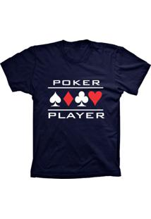 Camiseta Baby Look Lu Geek Poker Player Azul Marinho