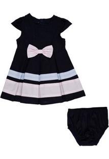 Vestido Infantil - Tricoline Com Laços - Algodão - Marinho - Minimi - G