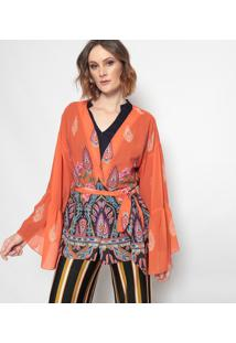 Kimono Arabescos Com Amarraã§Ã£O - Laranja & Verde - Mmob
