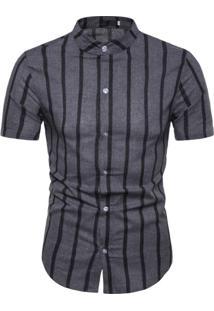 Camisa Vintage Stripes - Cinza
