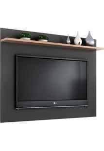 Painel Para Tv Até 50 Polegadas Friso Grafite E Siena 160 Cm