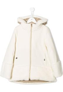 Herno Kids Hooded Midi Coat - Branco