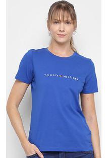 Camiseta Tommy Hilfiger Essential Crew Neck Tee Feminina - Feminino-Azul