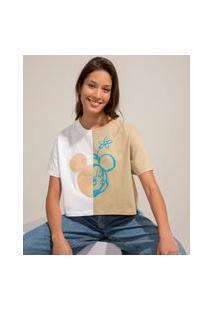 Camiseta Cropped De Algodão Ciclos Bicolor Mickey E Minnie Manga Curta Decote Redondo Multicor