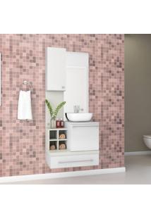 Gabinete Para Banheiro Sem Cuba Com Espelheira Ravenna Siena Móveis Branco/Milano