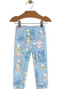 Calça Bebê Hello Kitty Suedine Feminino - Feminino-Azul Claro