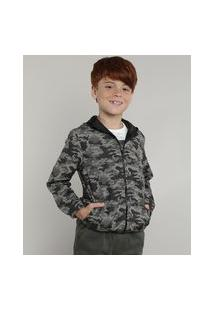 Jaqueta Corta Vento Infantil Estampada Camuflada Com Capuz Verde Militar