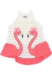 Camiseta Duzizo Menina Flamingo Off-White