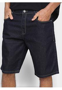 Bermuda Jeans Acostamento Lisa Masculina - Masculino-Azul