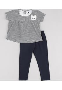 Conjunto Infantil De Blusa Listrada Manga Curta Off White + Calça Legging Azul Marinho