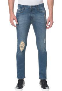 Calça Jeans Five Pocktes Slim Ckj 026 Slim - Azul Médio - 36