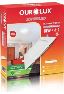 Plafon Quadrado Embutir Branco (6400 K 18W)