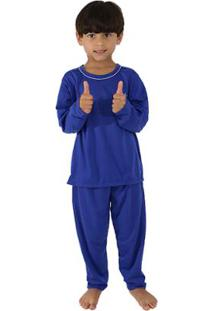 Pijama De Malha Infantil Linha Noite Longo Masculino - Masculino-Azul