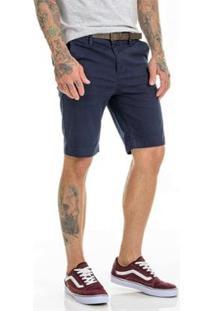 Bermuda Sarja Chino Premium Com Lycra Slim Fit Masculina - Masculino-Marinho