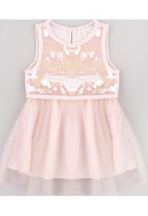 Vestido Infantil Em Tule Com Paetê Sem Manga Rosa Claro