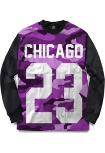 Blusa Bsc Chicago 23 Purple Camo Full Print - Masculino-Preto