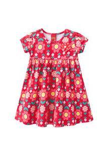 Vestido Infantil - Algodão E Poliéster - Flores - Vermelho - Kyly