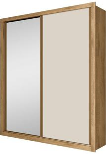 Guarda Roupa Solteiro Madrid 2 Portas Com Espelho Amêndoa / Off White