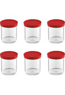 Kit Com 6 Porta Condimentos Plus Vermelho