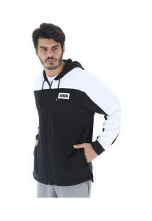 Jaqueta De Moletom Com Capuz Puma Rebel Block Fz Hoody - Masculina - Preto/Branco