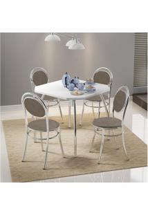 Conjunto Mesa 1504 Branca Cromada Com 4 Cadeiras 190 Camurça Conhaque Carraro
