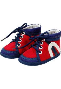Tênis Cano Alto Sapatinhos Baby Vermelho E Azul Marinho