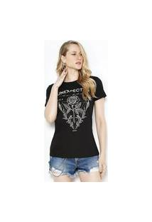 T-Shirt Det. Bordado Preto Preto