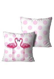 Kit 2 Capas Para Almofadas Decorativas Love Decor Flamingos Poa Multicolorido