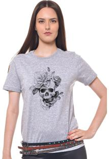 Camiseta Joss Estampada Feminina Caveira Flor Cinza Mescla