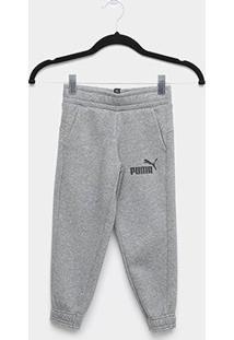 Calça Moletom Infantil Puma Logo Sweat Masculina - Masculino-Cinza