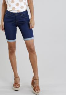 Bermuda Jeans Feminina Ciclista Barra Dobrada Azul Escuro