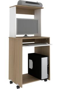 Mesa Para Computador Home Office Avelã E Branca