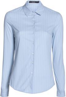 Amaro Feminino Camisa Feminina Social De Algodão, Listrado Azul Claro Fino