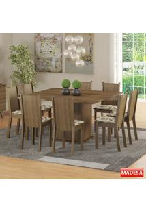 Mesa De Jantar 8 Lugares Clarice Rustic/Bege - Madesa Móveis
