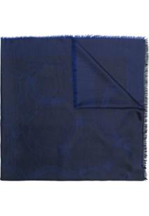 Salvatore Ferragamo Cachecol Estampado Com Logotipo - Azul