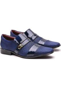Sapato Social Artesanal Gofer 12403 Masculino - Masculino-Azul Escuro
