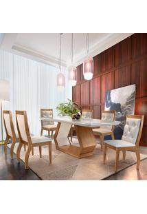Mesa De Jantar Alvorada 1,80M Com Vidro Offwhite + 6 Cadeiras Agata Turim 07 - Imbuia Mel