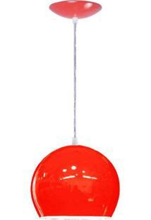 Lustre Pendente Bola Em Alumínio Cor Vermelho