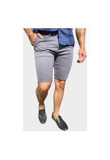 Bermuda Alfaiataria Masculina Cinza Chumbo Skinny - Zip Off