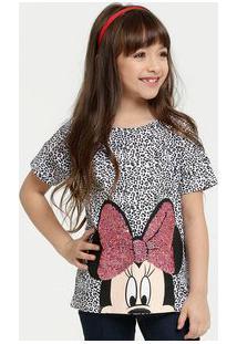Blusa Infantil Estampa Animal Print Minnie Disney