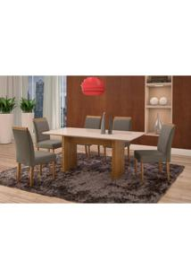 Conjunto De Mesa De Jantar Com 6 Cadeiras E Tampo De Madeira Maciça Milão Reta Iii Suede Grafite E Off White