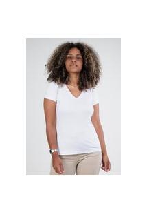 Camiseta Meio Swag Básica Gola V Branca