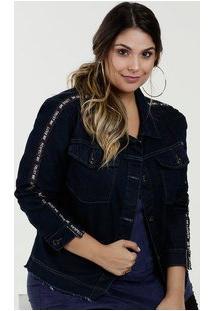 Jaqueta Feminina Jeans Faixa Plus Size Razon