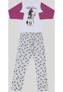 Pijama Infantil Dogs Manga Longa Branco